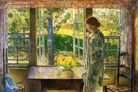 The Goldfish in the Window by Child Hassam - Wooden Jigsaw Puzzles for Adults