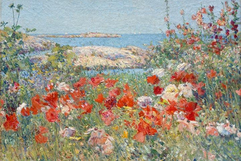 Celia Thaxter's Garden, Isles of Shoals, Maine by Childe Hassam - Peaceful Wooden Jigsaw Puzzles