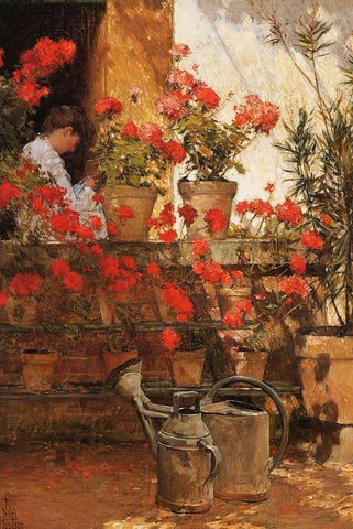 Geraniums by Childe Hassam - Peaceful Wooden Puzzles