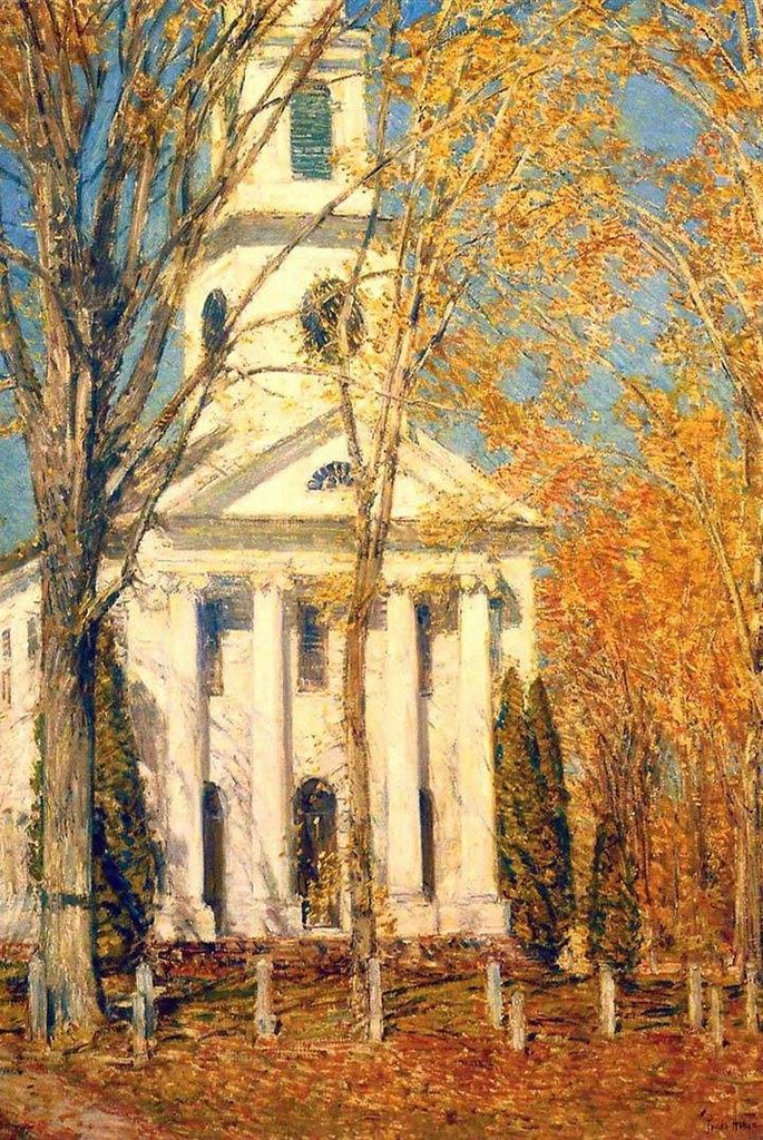 Church at Old Lyme by Childe Hassam - Wooden Jigsaw Puzzles for Adults