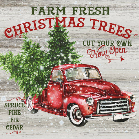 Vintage Red Truck Tree Farm Sign - Wooden Jigsaw Puzzles for Adults