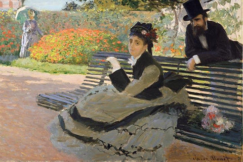Camille Monet on a Garden Bench by Monet - Peaceful Wooden Jigsaw Puzzles