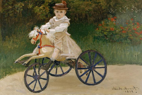 Jean Monet on His Hobby Horse by Monet - Wooden Jigsaw Puzzles for Adults