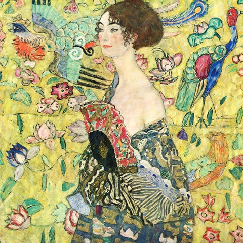 Lady with Fan by Gustav Klimt - Peaceful Wooden Puzzles