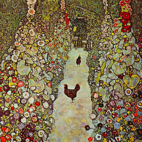 Garden Path with Chickens by Gustav Klimt - Peaceful Wooden Puzzles