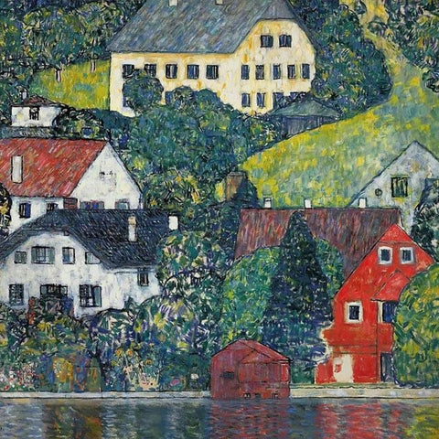 Houses In Unterach On The Attersee by Gustav Klimt - Wooden Jigsaw Puzzles for Adults