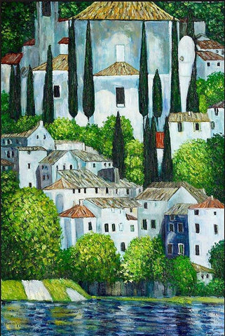 Church in Cassone by Gustav Klimt Peaceful Wooden Puzzles