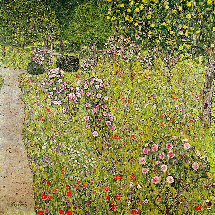 Fruit Garden with Roses by Gustav Klimt - Peaceful Wooden Puzzles