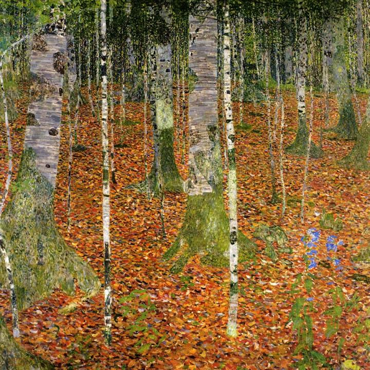 Birch Forest by Gustav Klimt Peaceful Wooden Puzzles