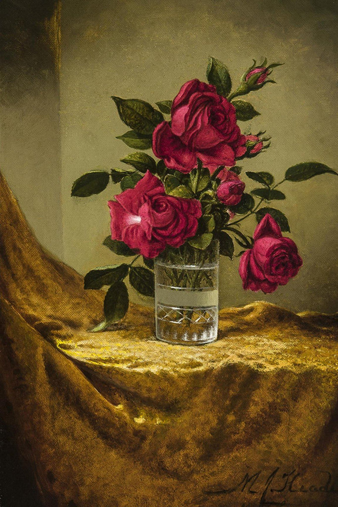 Glasses of Roses on a Gold Cloth by Martin Johnson Heade