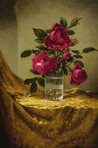 Glasses of Roses on a Gold Cloth by Martin Johnson Heade - Wooden Jigsaw Puzzles for Adults