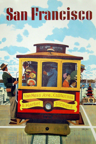 Vintage San Francisco Cable Car Travel Poster - Wooden Jigsaw Puzzles for Adults