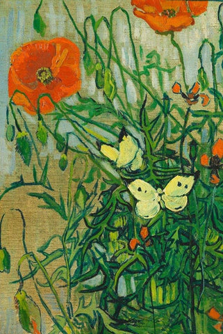 Butterflies and Poppies by Van Gogh - Peaceful Wooden Jigsaw Puzzles
