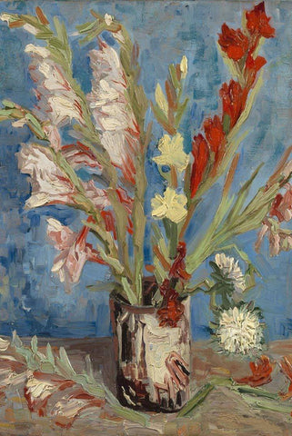 Vase with Gladioli and Chinese Asters by Van Gogh - Peaceful Wooden Jigsaw Puzzles