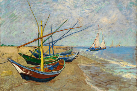 Fishing Boats on the Beach by Van Gogh - Peaceful Wooden Puzzles