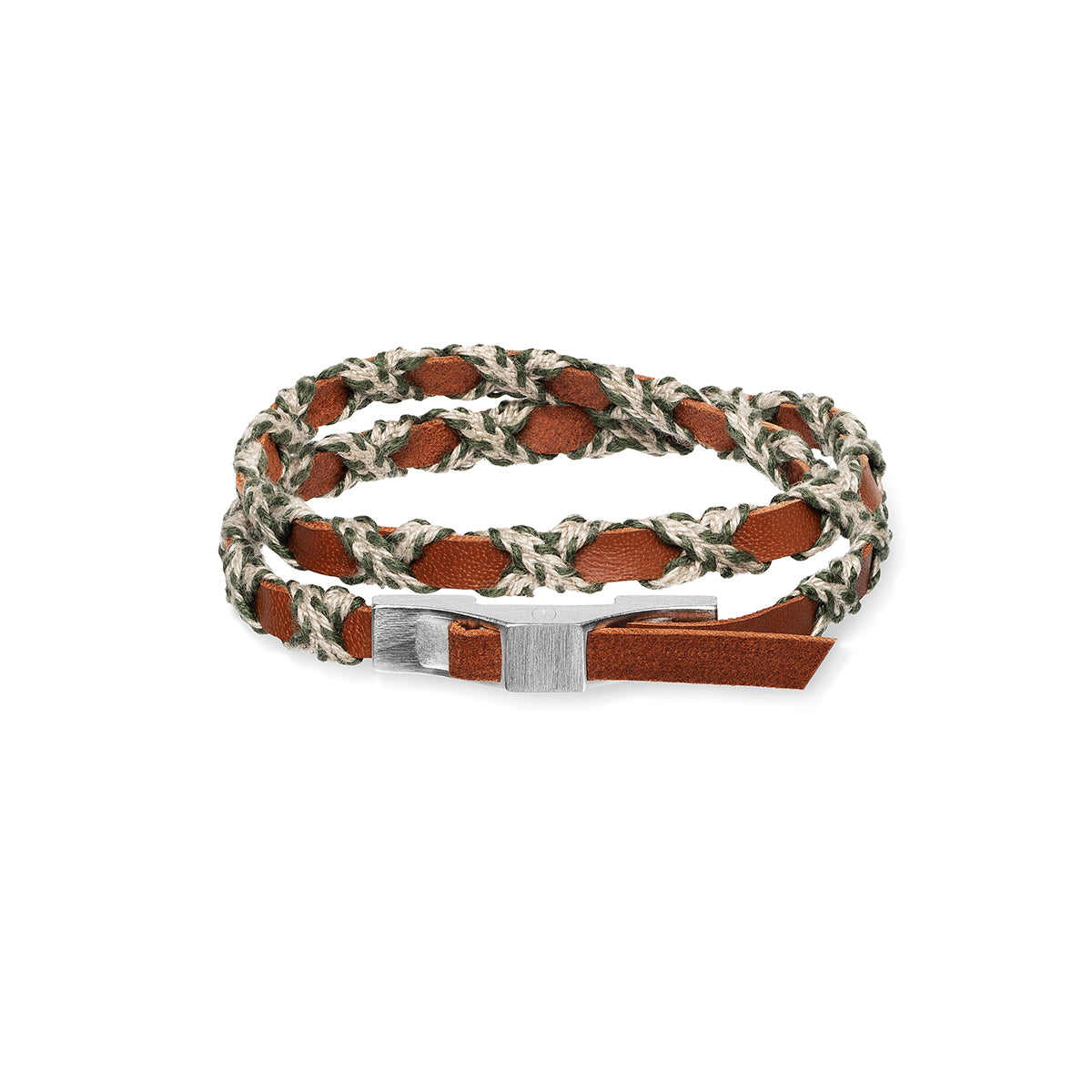 Bracelet double tour cuir tressé marron