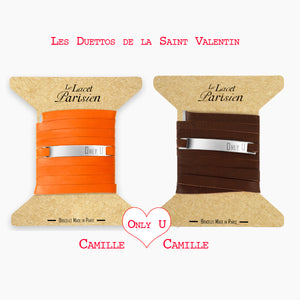 bracelet gourmette gravé love saint valentin marron orange