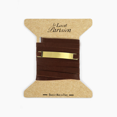 Bracelet cuir personnalisable marron or LACET PARISIEN