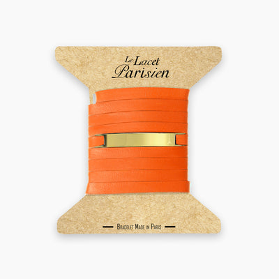 Bracelet cuir personnalisable orange or LACET PARISIEN
