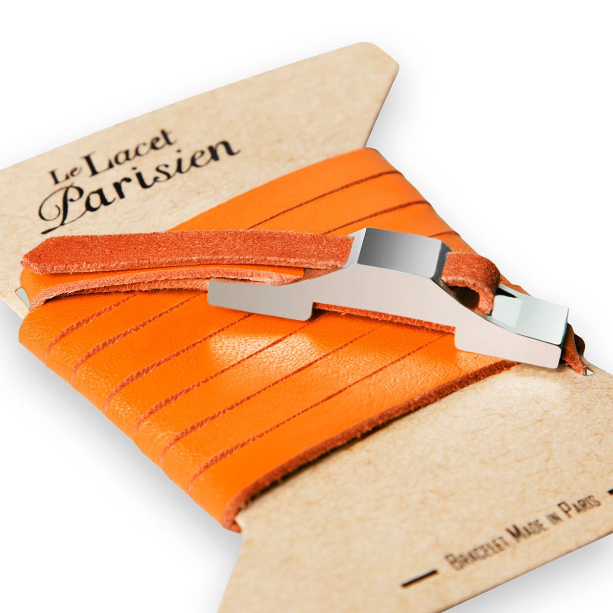 Bracelet cuir orange homme