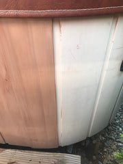 before and after restoration of hot tub with boat guard