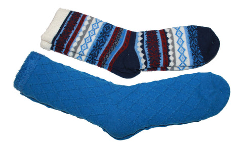 Cabin Socks -Double Layer Aloe  Home/ Spa Socks 2 pack (1 solid and 1 Nordic pattern)