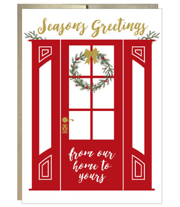 Wreath on Red Door Seasons Greetings Card - Idea Chíc