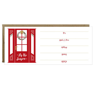 Red Door with Wreath Tis the Season Fill-in Invitations 10 Pack - Idea Chíc