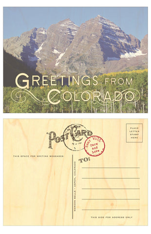 Greetings From Colorado Wood Veneer Postcard - Single - Idea Chíc