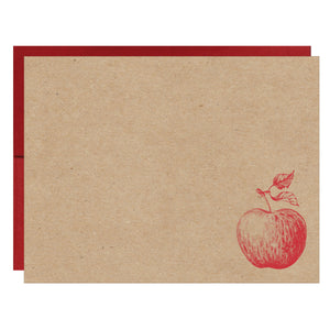 Apple Letterpress on Natural Chipboard Card - $2.50 | case of 6