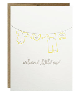 Baby Clothesline Welcome Little One Letterpress Card - Idea Chíc
