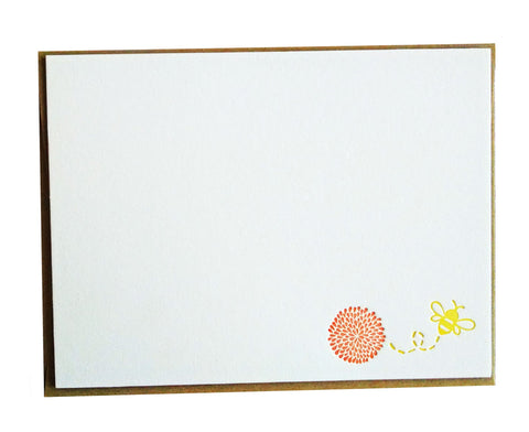 Flower and Bee Letterpress Stationery with Yellow Envelope - Single - Idea Chíc