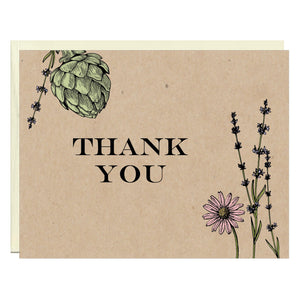 Botanical Thank You Note Card - Idea Chíc