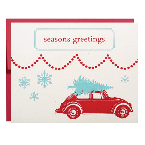 volkswagon bug holiday card - single card - Idea Chíc