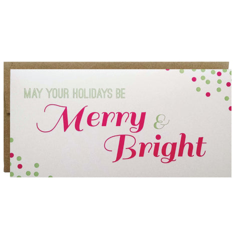 Merry and Bright Confetti Holiday Greeting Card in Green and Pink - single - Idea Chíc
