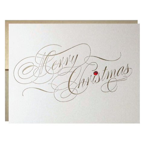 Letterpress Christmas Card with Rhinestone and Metallic Gold Envelope - single card - Idea Chíc