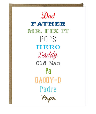 How to Say Dad in Every Way Fathers Day Greeting Card - Idea Chíc