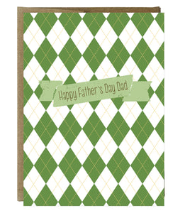Happy Father's Day Dad Argyle Green and White Greeting Card - Idea Chíc