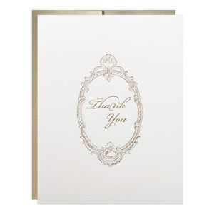 Vintage Border Gold Thank You Letterpress Card - Idea Chíc