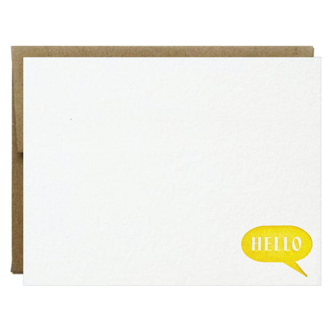 Hello Bubble Yellow Letterpress Card - $2.50 | case of 6