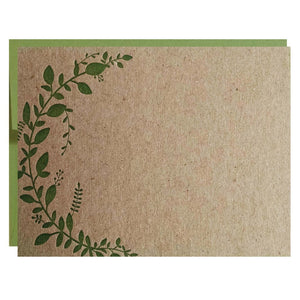 Leaf Vine Letterpress Card - $2.50 | case of 6