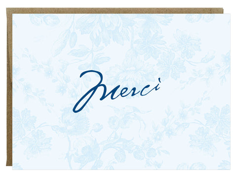 Merci Vintage French Flower Thank you Card in Blue - Idea Chíc
