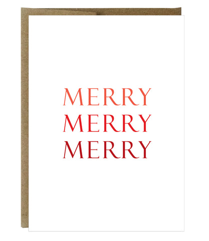 Merry, Merry, Merry Card - $2.00 each | case of 6