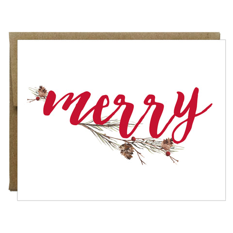 Merry Pine Cone Branch Christmas Card - $2.00 each | case of 6