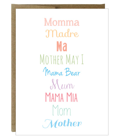 How to Say Mom in Every Way Mother's Day Greeting Card - $2.00 each | case of 6