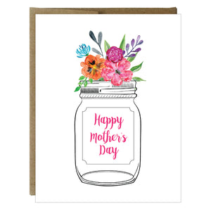 Mason Jar Bouquet Happy Mother's Day Card - $2.00 | case of 6