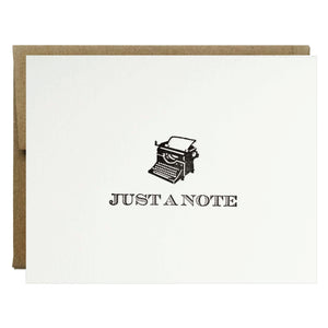 Just a Note Typewriter Letterpress Card - $2.50 each | case of 6