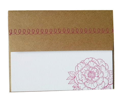 Peony Letterpress card with Sewn Envelope - Idea Chíc