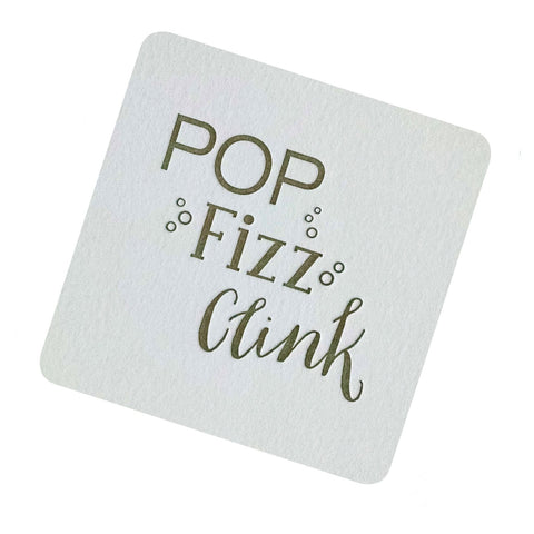 POP Fizz Clink Coasters Printed with Old Gold pack of 4 - Idea Chíc