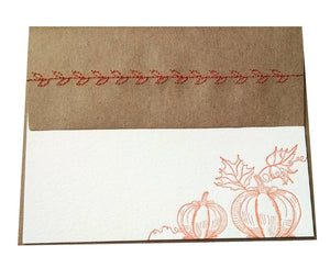 Orange Pumpkin Letterpress Stationery with Sewn Envelope - $2.50 each | case of 6